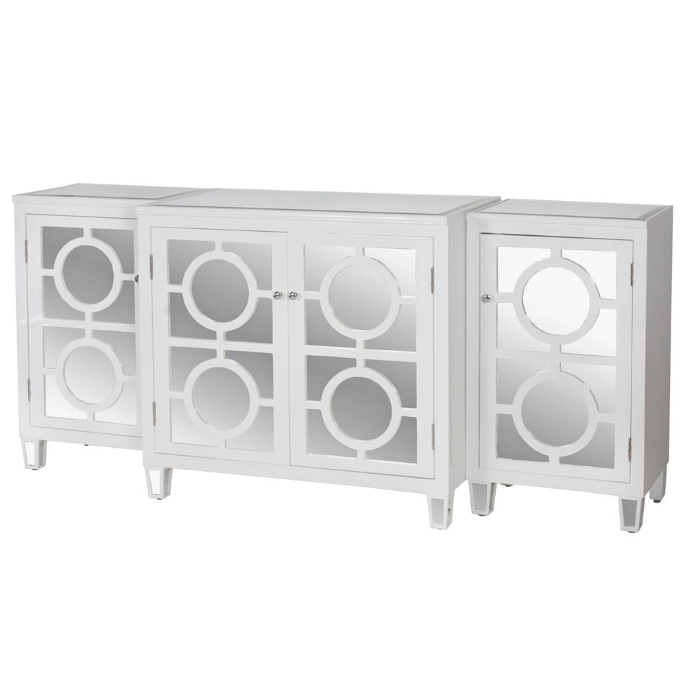 Malta Global Bazaar White Lacquer Mirror Buffet Sideboard Kathy Kuo Home