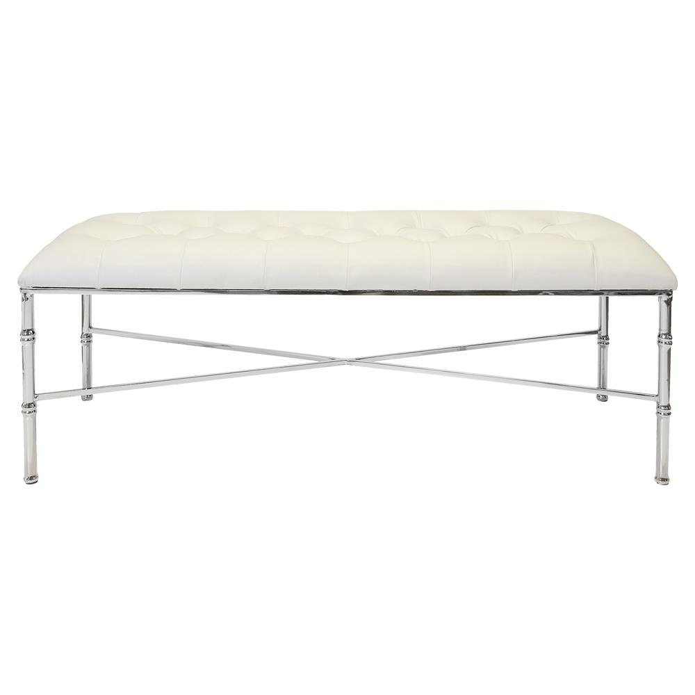 Gamine Hollywood Regency Silver Bamboo White Leather Bench Kathy Kuo Home