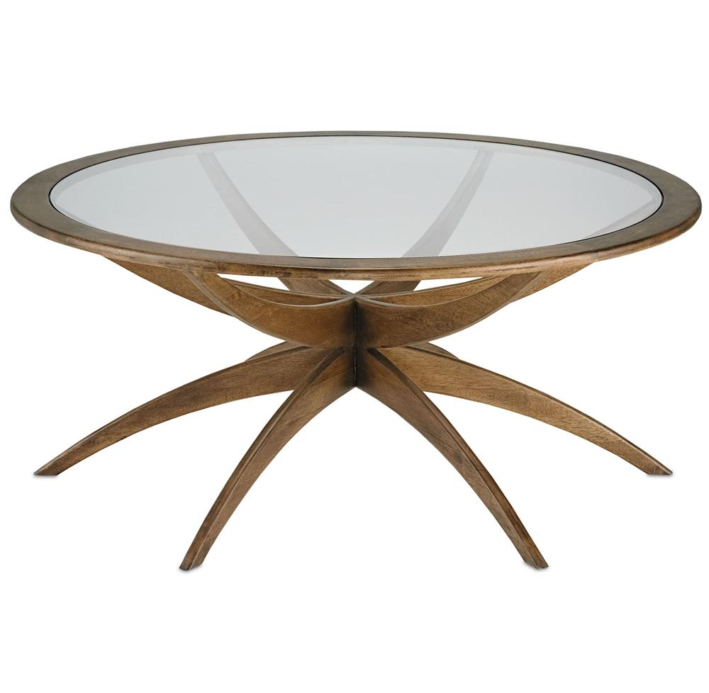 Henry mid century mid century weathered walnut round for Round weathered coffee table