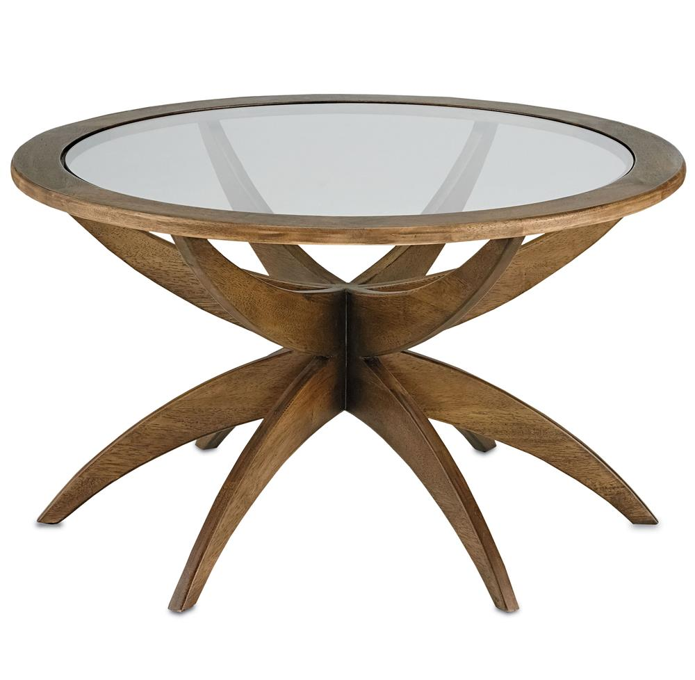 Henry mid century modern weathered walnut round coffee for Round weathered coffee table