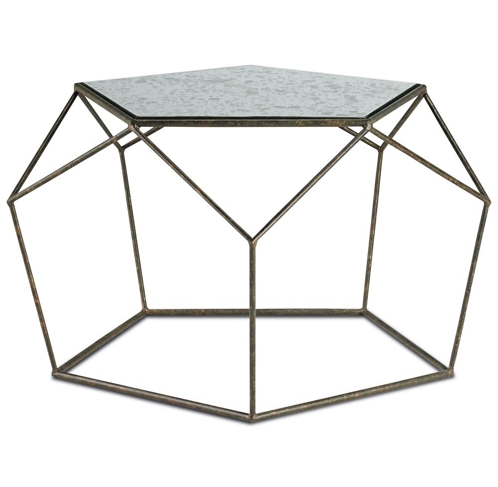 Zin geometric industrial antique mirror bronze coffee for Geometric coffee table