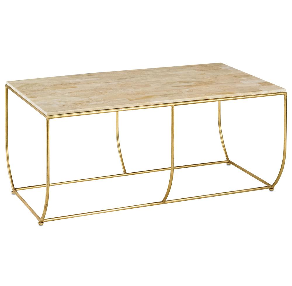 Galena Hollywood Regency Gold Leaf Stone Top Coffee Table | Kathy Kuo Home