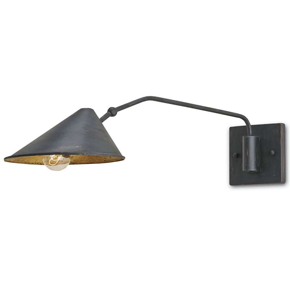 Barawine Industrial Loft Distressed Black Swing Arm Sconce