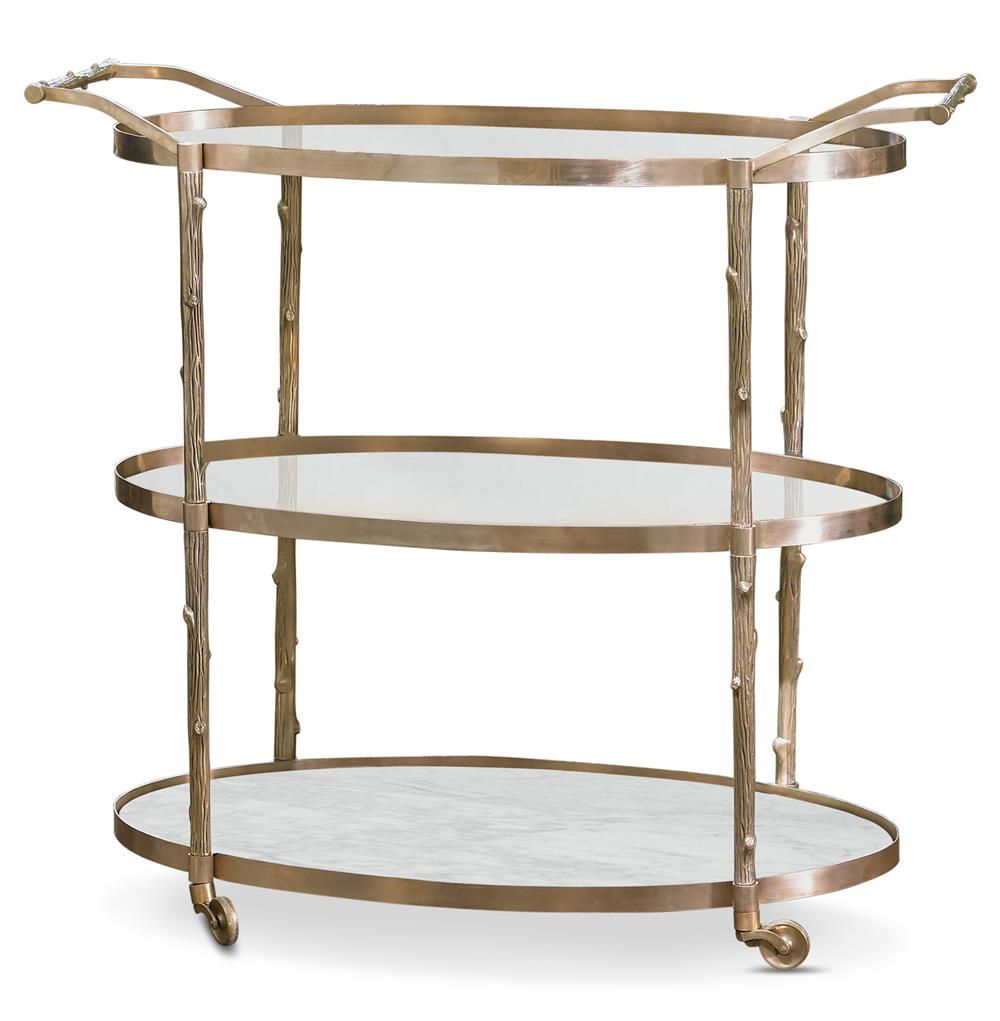 Vineyard Hollywood Regency 3 Shelf Brass Bar Cart Kathy