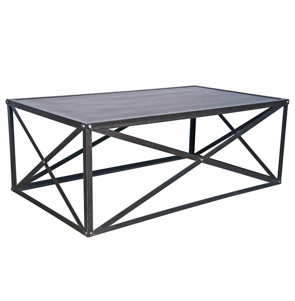 Crispin industrial style metal stone coffee table kathy kuo home Industrial metal coffee table