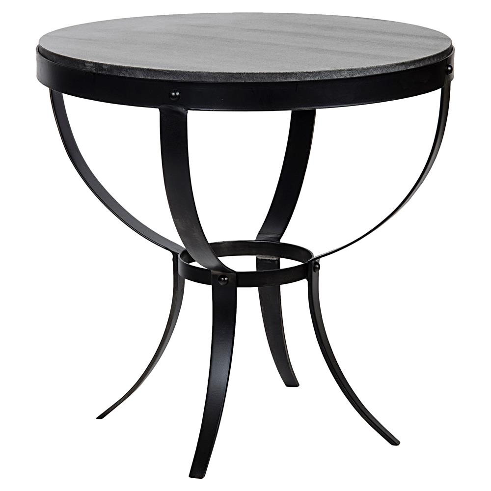 Logan Industrial Rustic Metal Stone Top Round Side Table