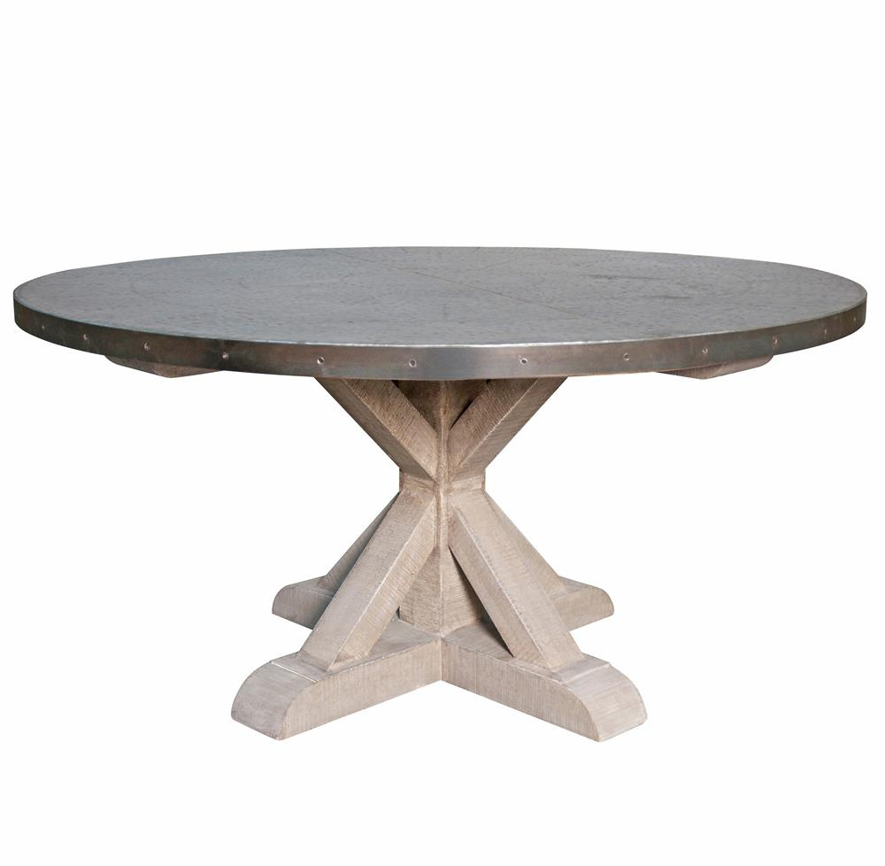 Lewiston industrial loft zinc top x base round dining table for Round dining table