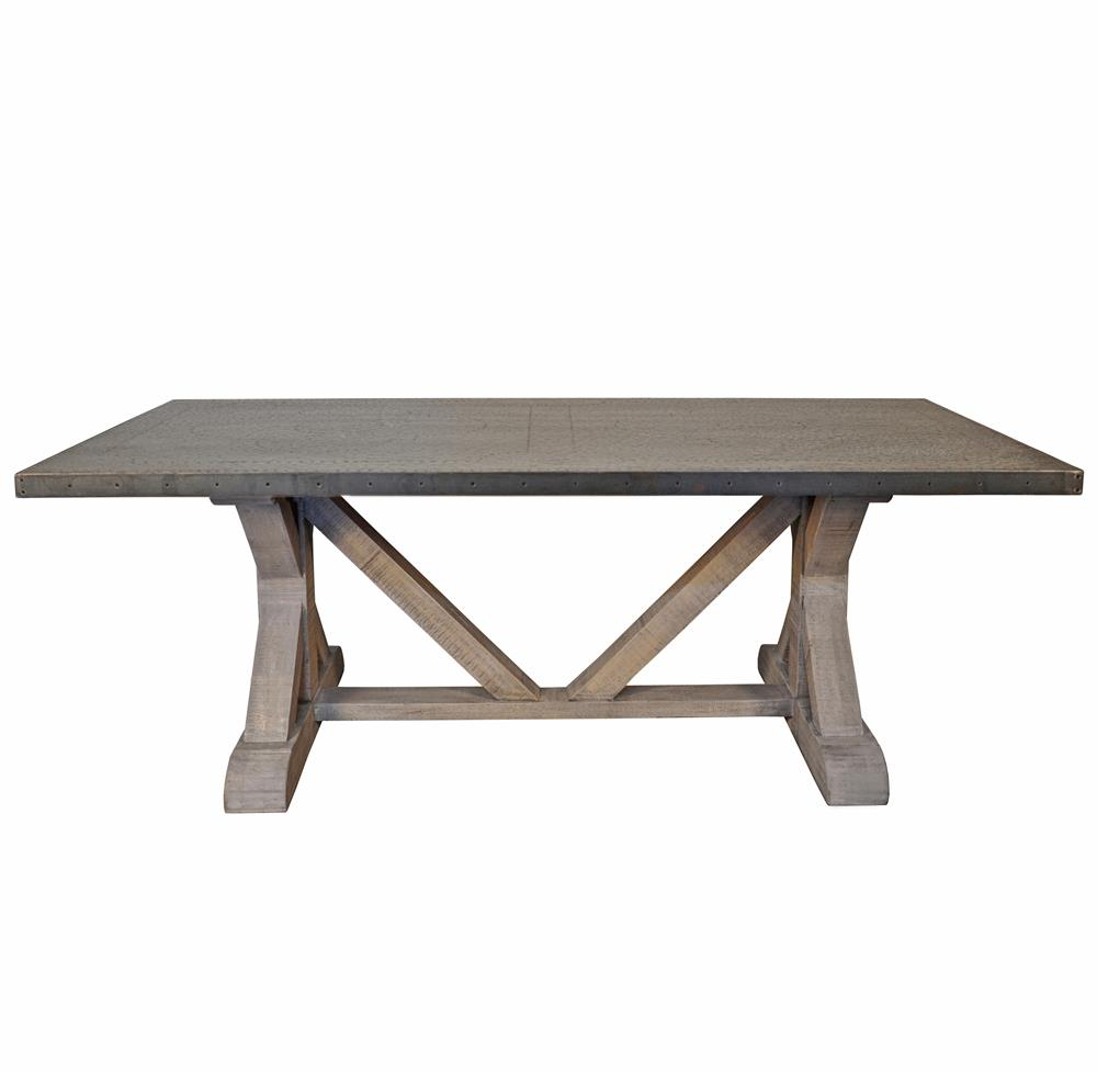Duane industrial loft zinc top x base rectangular dining for Dining table base