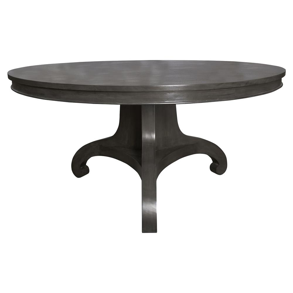 Vestry industrial style black round wood large dining table for Large dark wood dining table