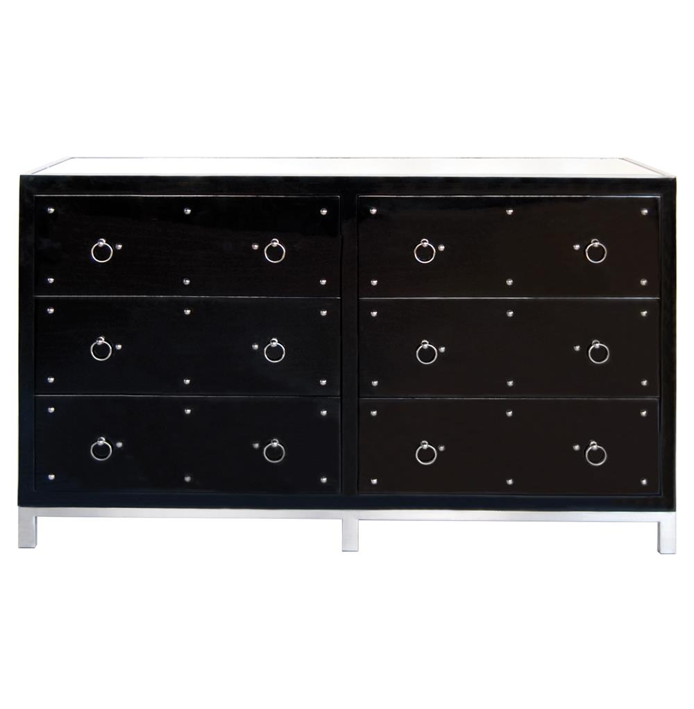 Harley Hollywood Regency Studded Black Lacquer Mirror Dresser Kathy Kuo Home