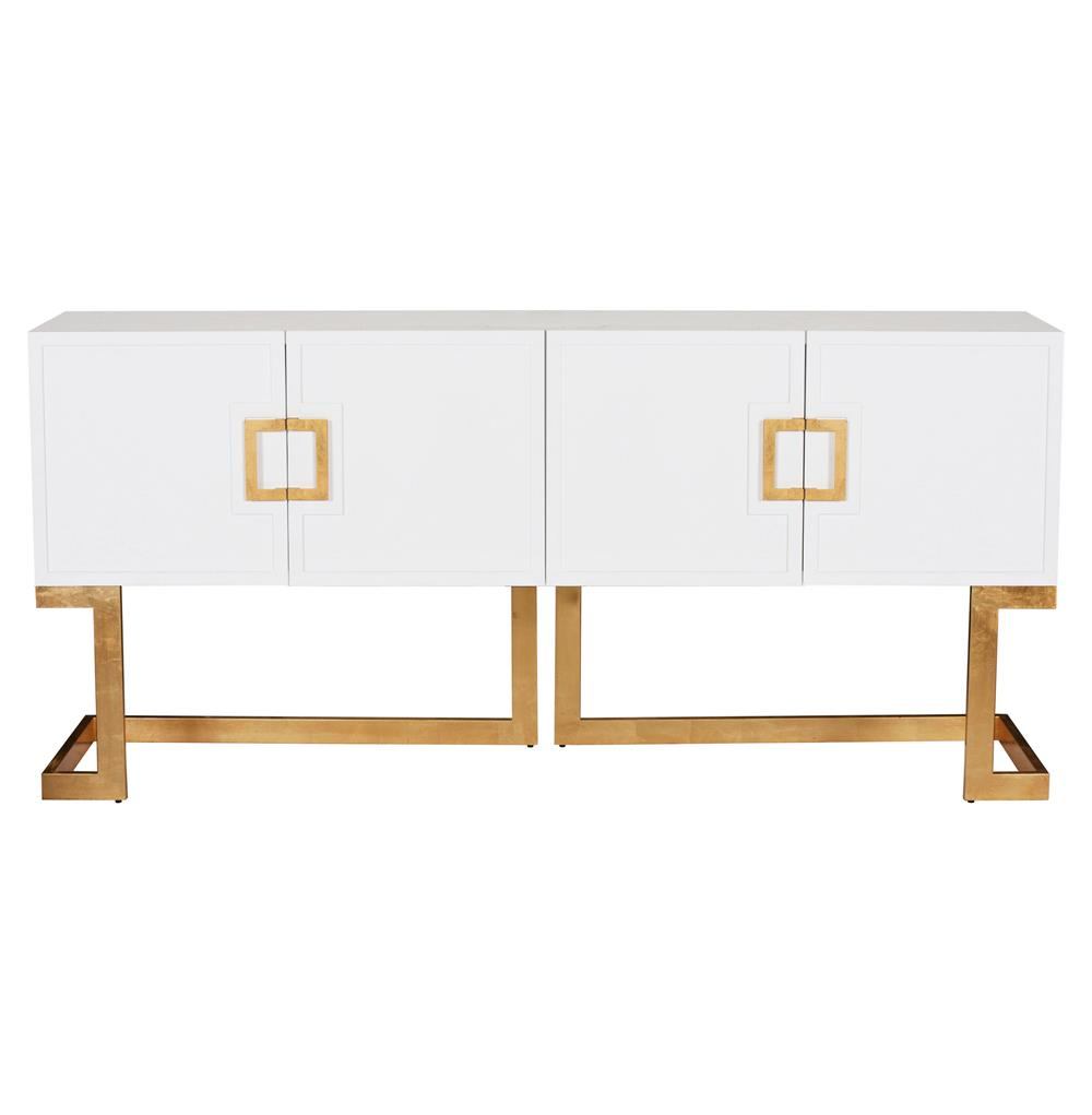 Emmett Hollywood Regency White Lacquer Gold Media Console Cabinet Kathy Kuo Home