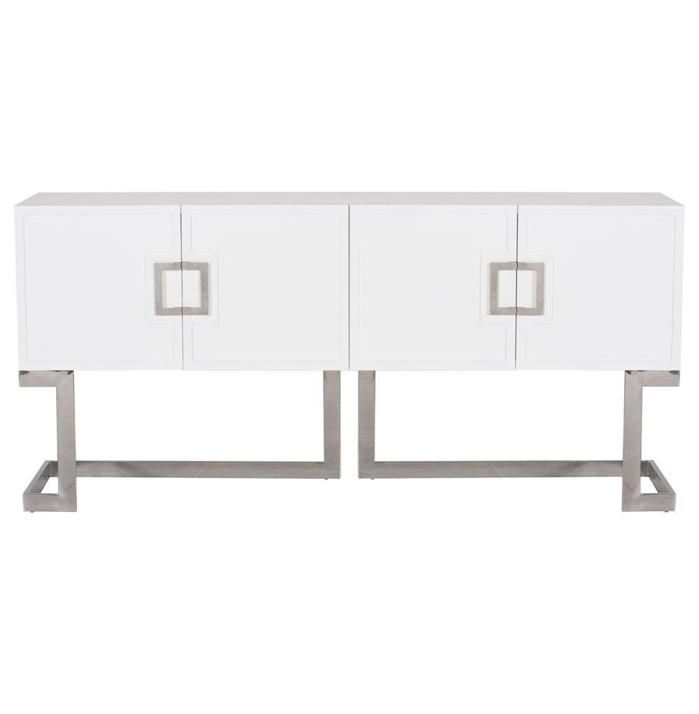 Emmett Hollywood Regency White Lacquer Steel Media Console Cabinet | Kathy  Kuo Home ...