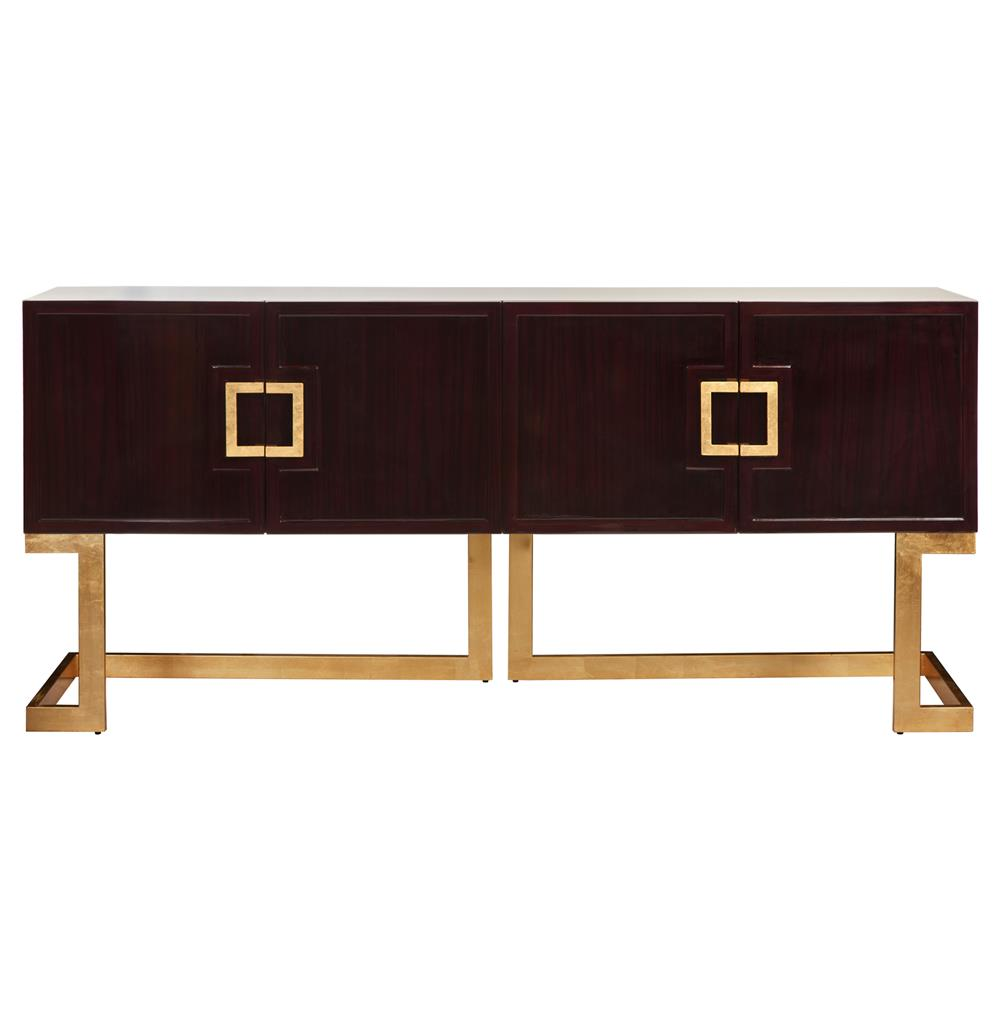 Emmett Hollywood Regency Rosewood Gold Media Console Cabinet Kathy Kuo Home
