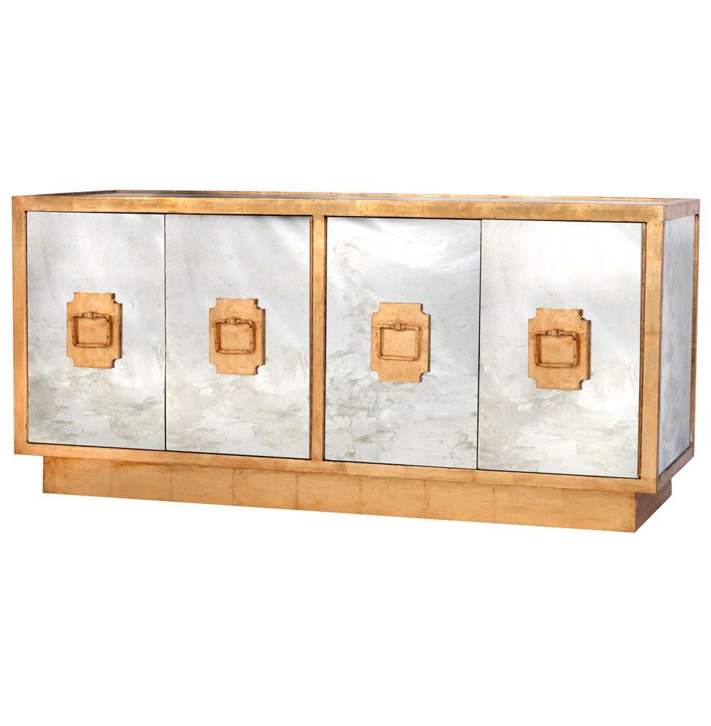 Chantal hollywood regency antique gold mirror sideboard for Sideboard gold