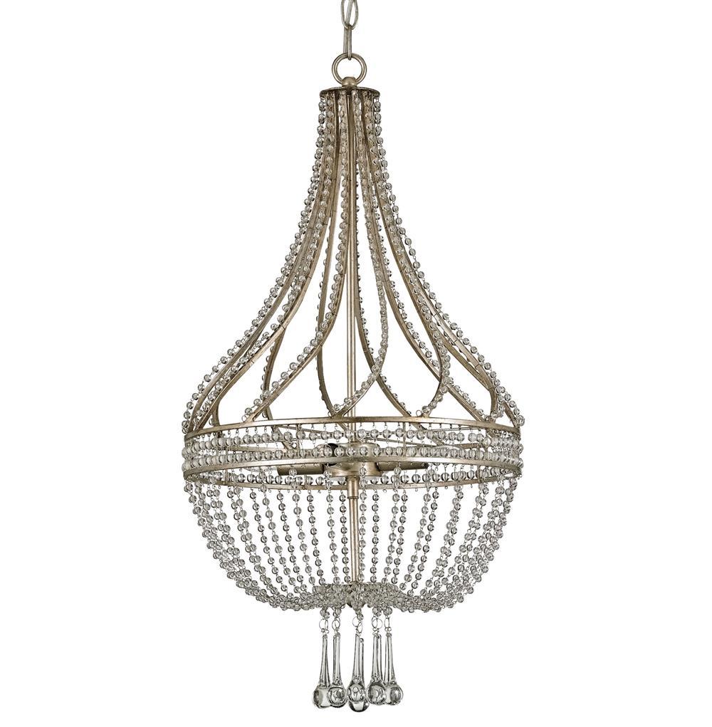 Cora Hollywood Regency Beaded Crystal Antique Silver