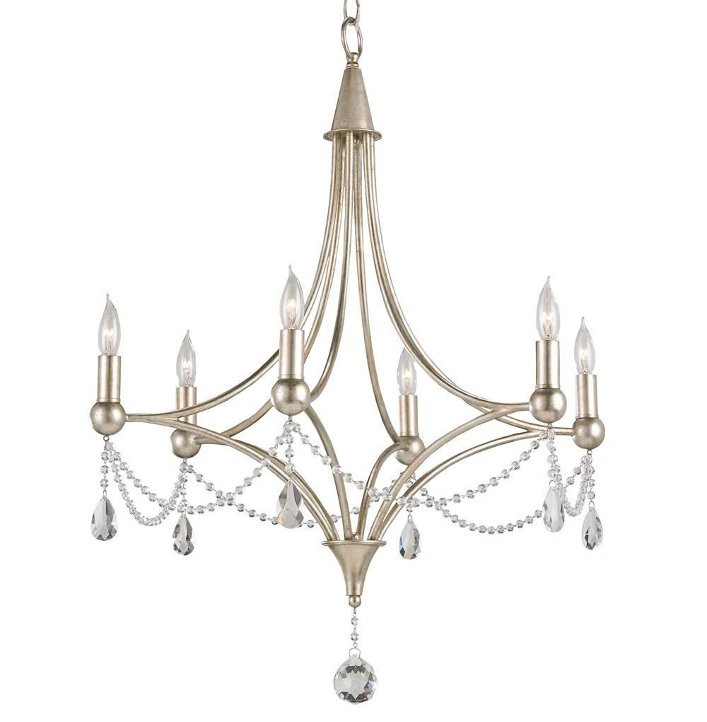 Gracie Crystal Elegant Beaded Antique Silver 6 Light Chandelier | Kathy Kuo  Home - Gracie Crystal Elegant Beaded Antique Silver 6 Light Chandelier