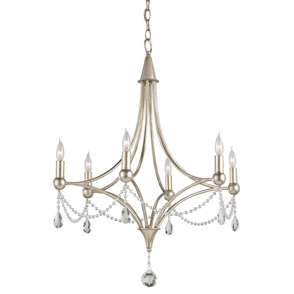 Gracie Crystal Elegant Beaded Antique Silver 6 Light