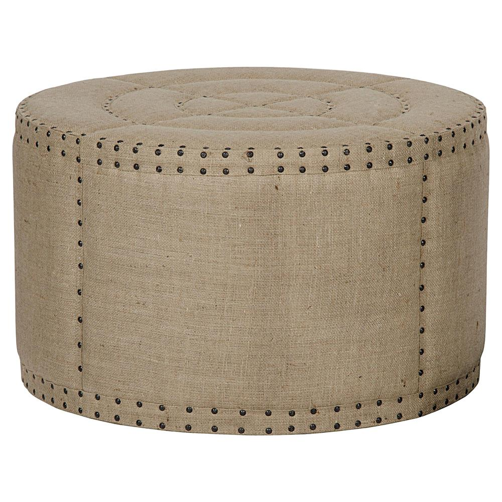 Adalene French Country Burlap Rustic Round Coffee Table Ottoman Kathy Kuo Home