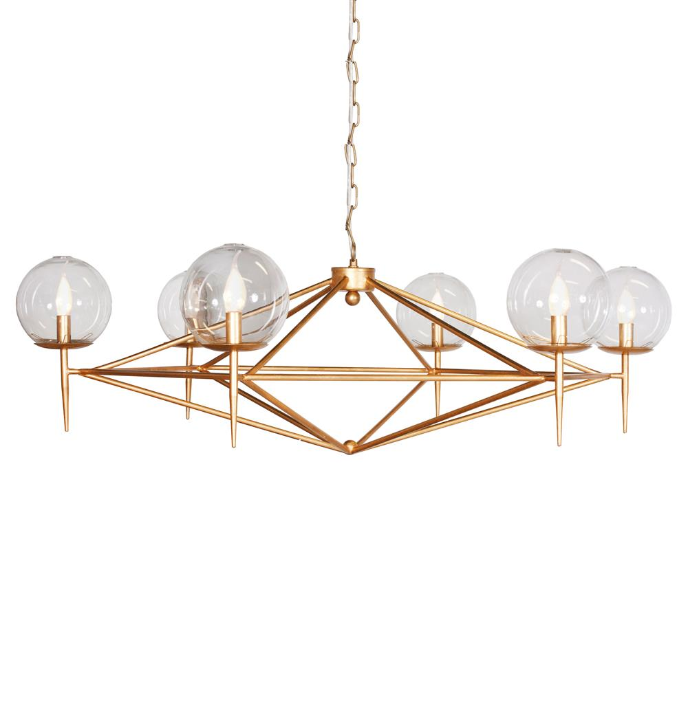 Sputnik Mid Century Retro Gold Chandelier Kathy Kuo Home