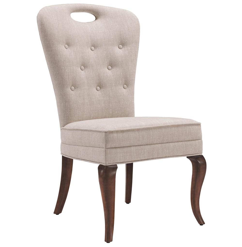 Anais hollywood regency button tufted linen dining side chair for Tufted dining chairs for sale