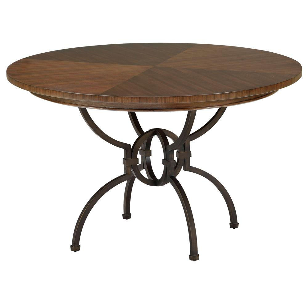Hilda modern bronze walnut pedestal round dining table for Pedestal dining table