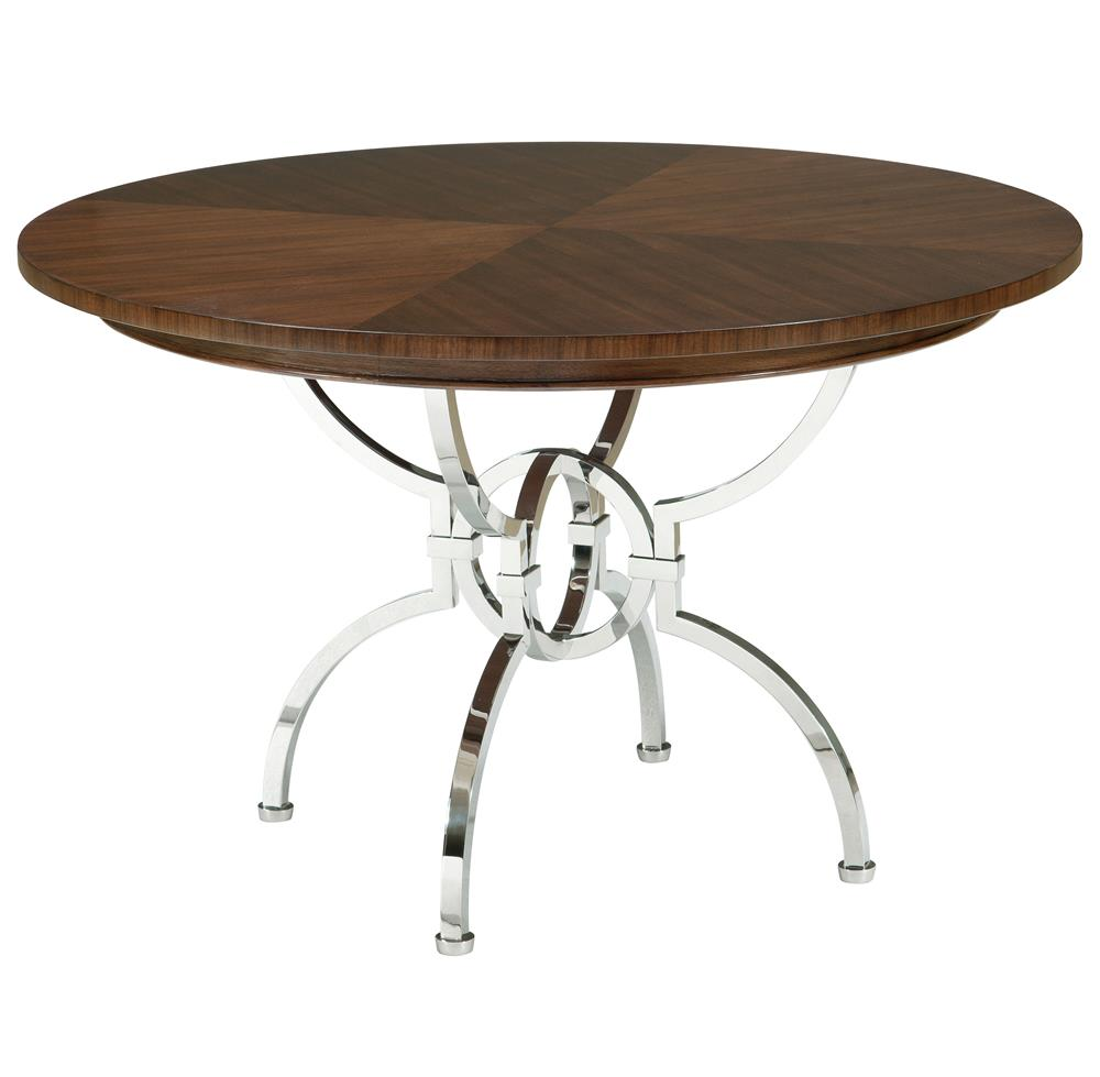 Hilda modern steel walnut pedestal round dining table for Modern round dining table