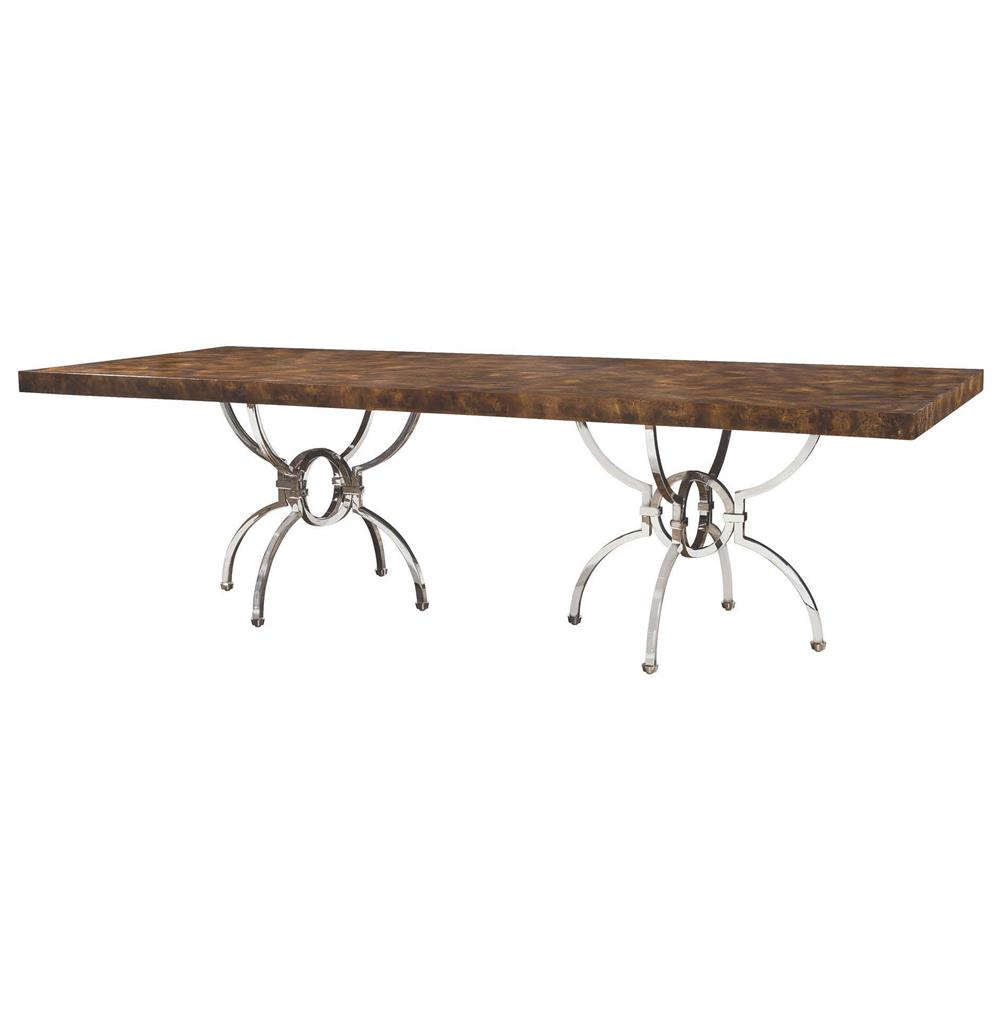 Hilda Modern Steel Walnut Burl Double Pedestal Dining Table Kathy