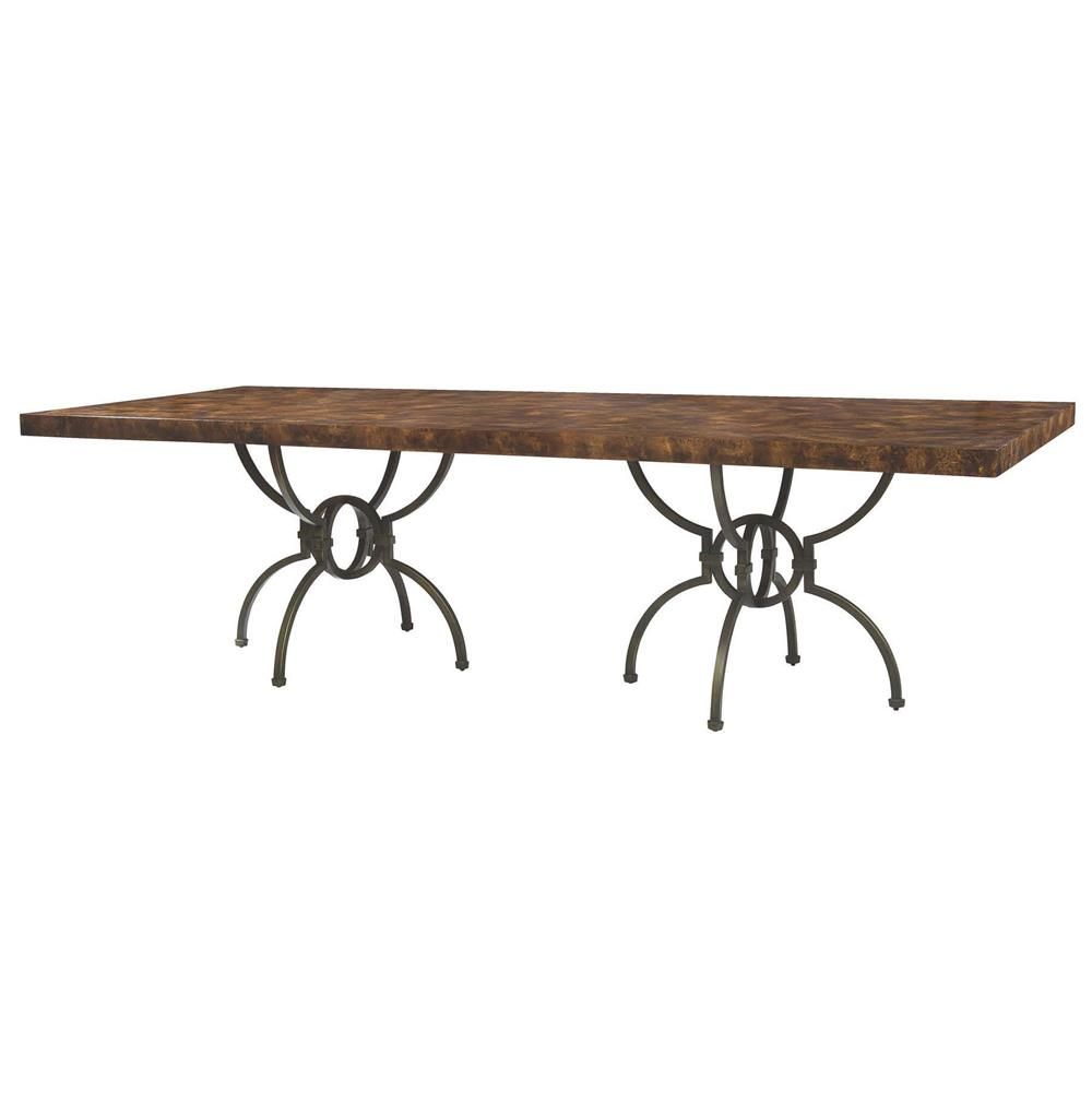Hilda Modern Bronze Walnut Burl Double Pedestal Dining Table Kathy
