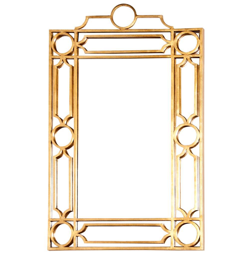 Brando hollywood regency gold trellis wall mirror kathy for Gold wall mirror