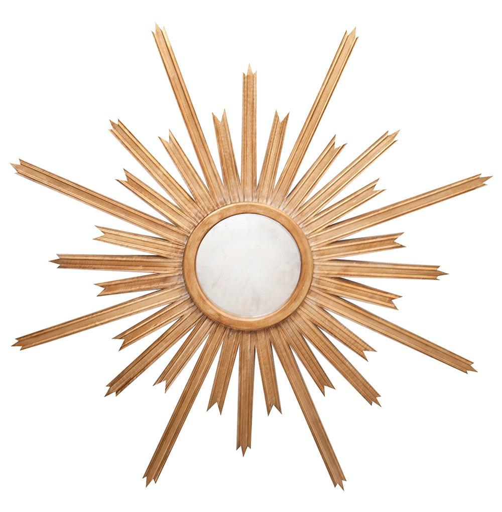 Vector hollywood regency gold sunburst antique wall mirror for Sunburst mirror