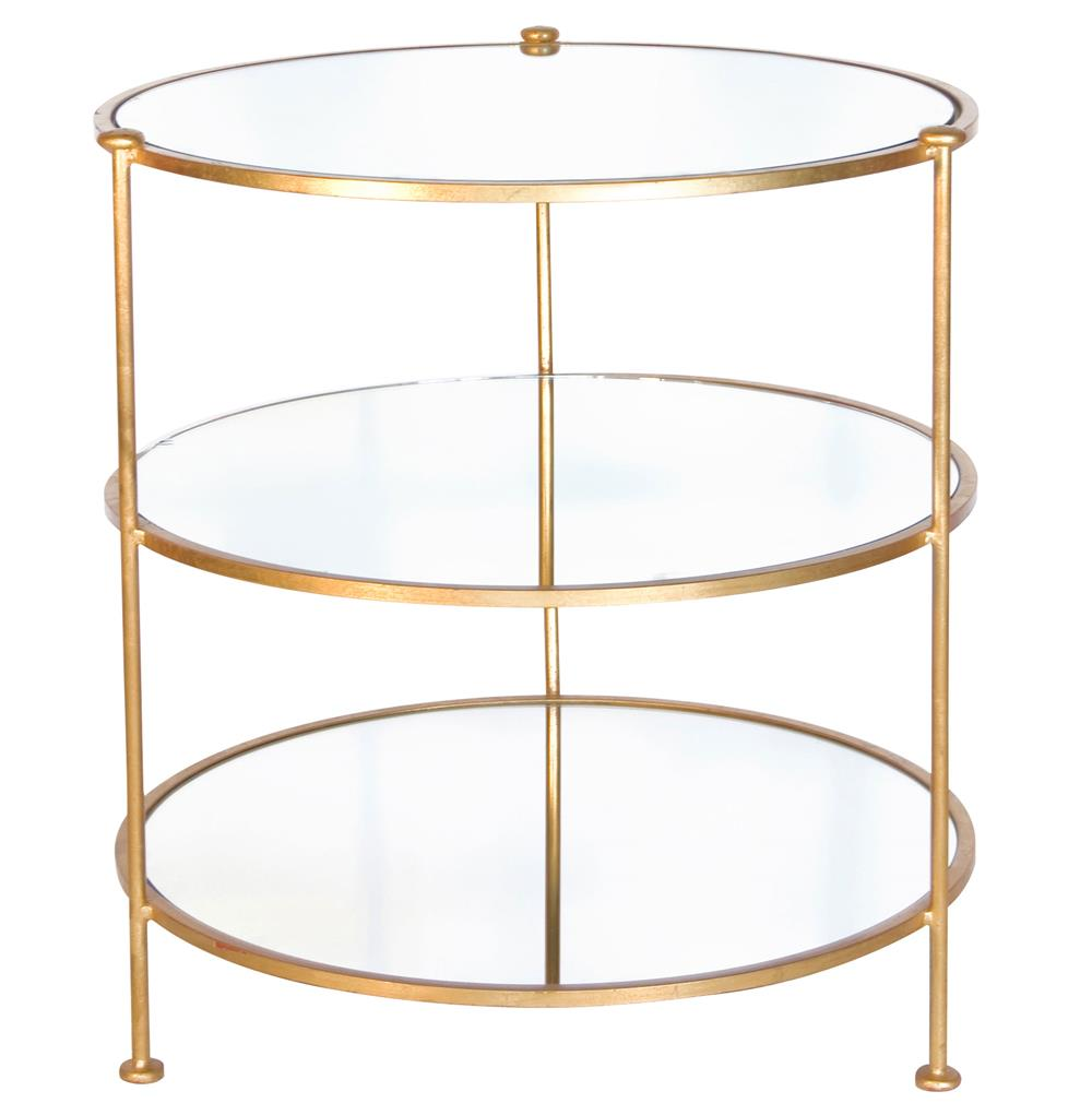Demille hollywood regency gold round side table kathy for Round gold side table