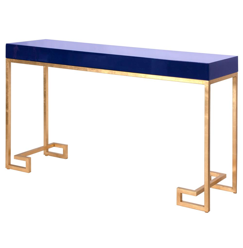DaVinci Hollywood Regency Navy Blue Gold Console Table | Kathy Kuo Home