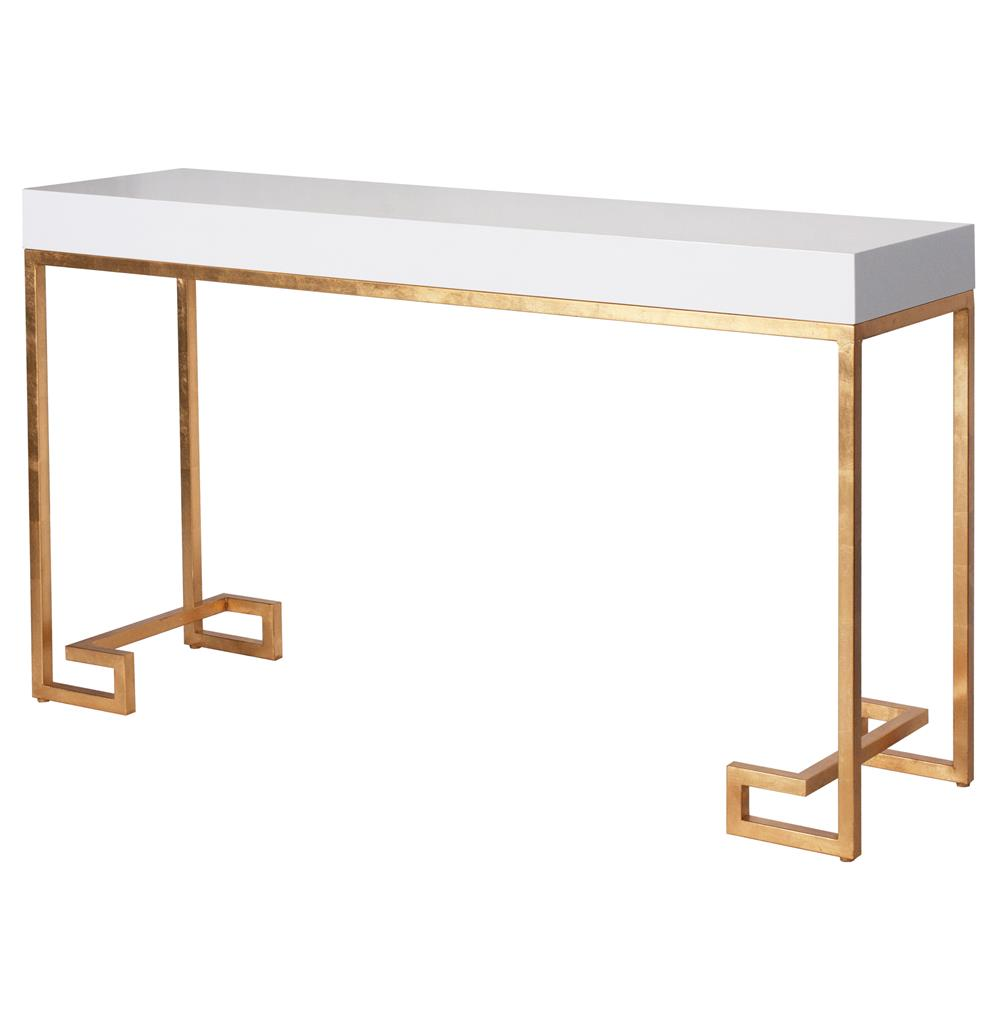 Davinci Hollywood Regency White Lacquer Gold Console Table