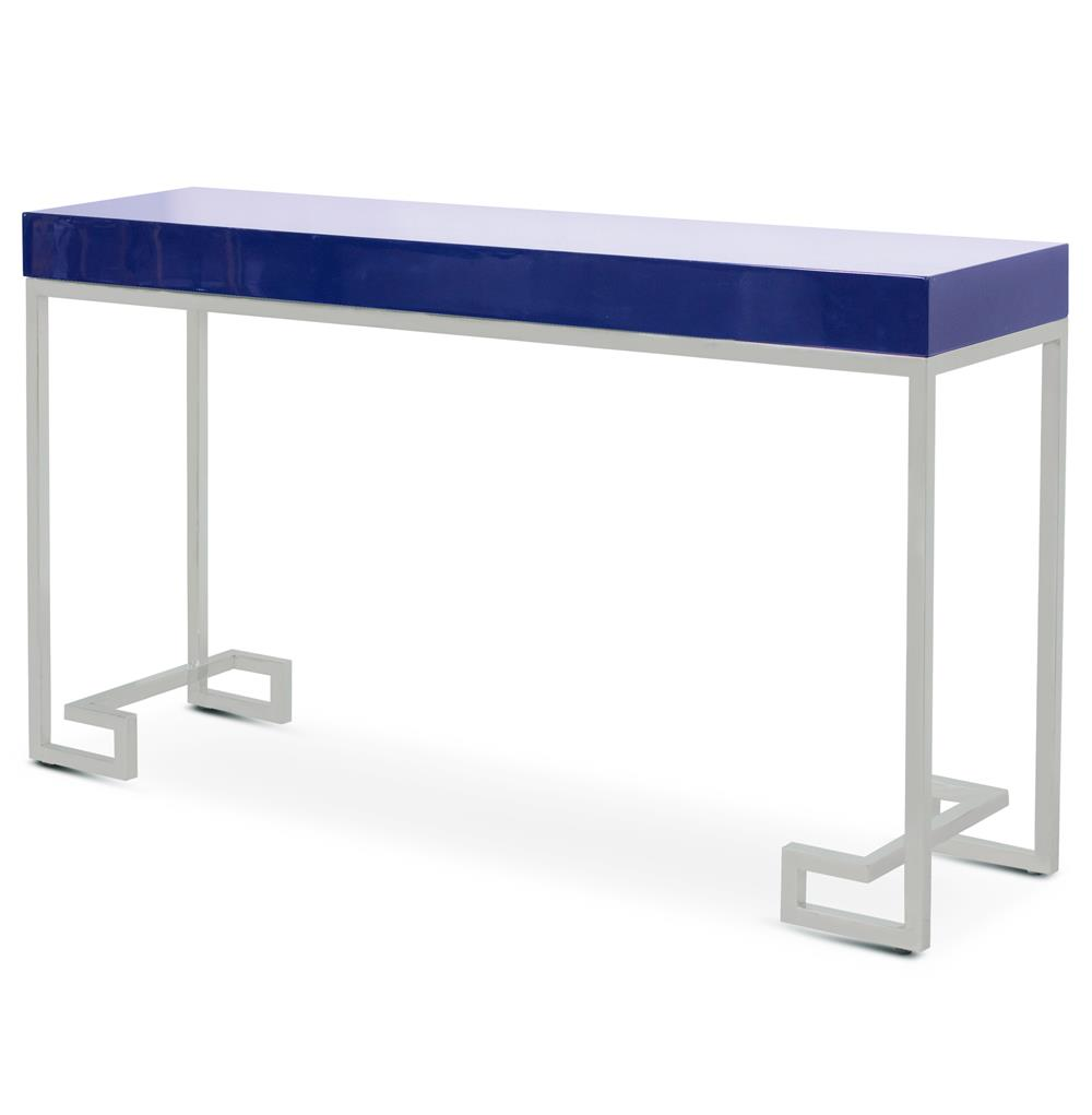 davinci hollywood regency navy blue silver console table kathy kuo home. Black Bedroom Furniture Sets. Home Design Ideas