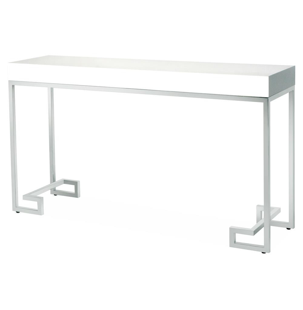 DaVinci Hollywood Regency White Lacquer Silver Console