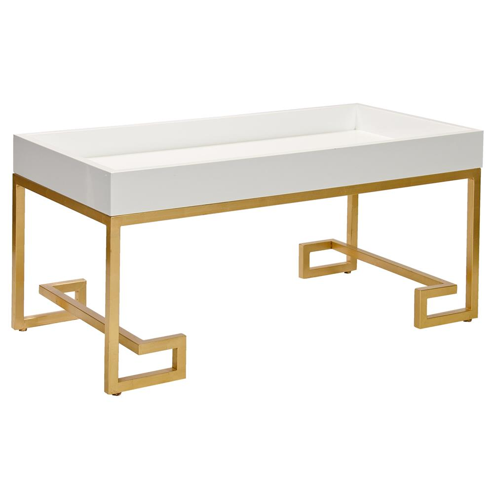 Davinci Hollywood Regency White Lacquer Gold Coffee Table Kathy Kuo Home