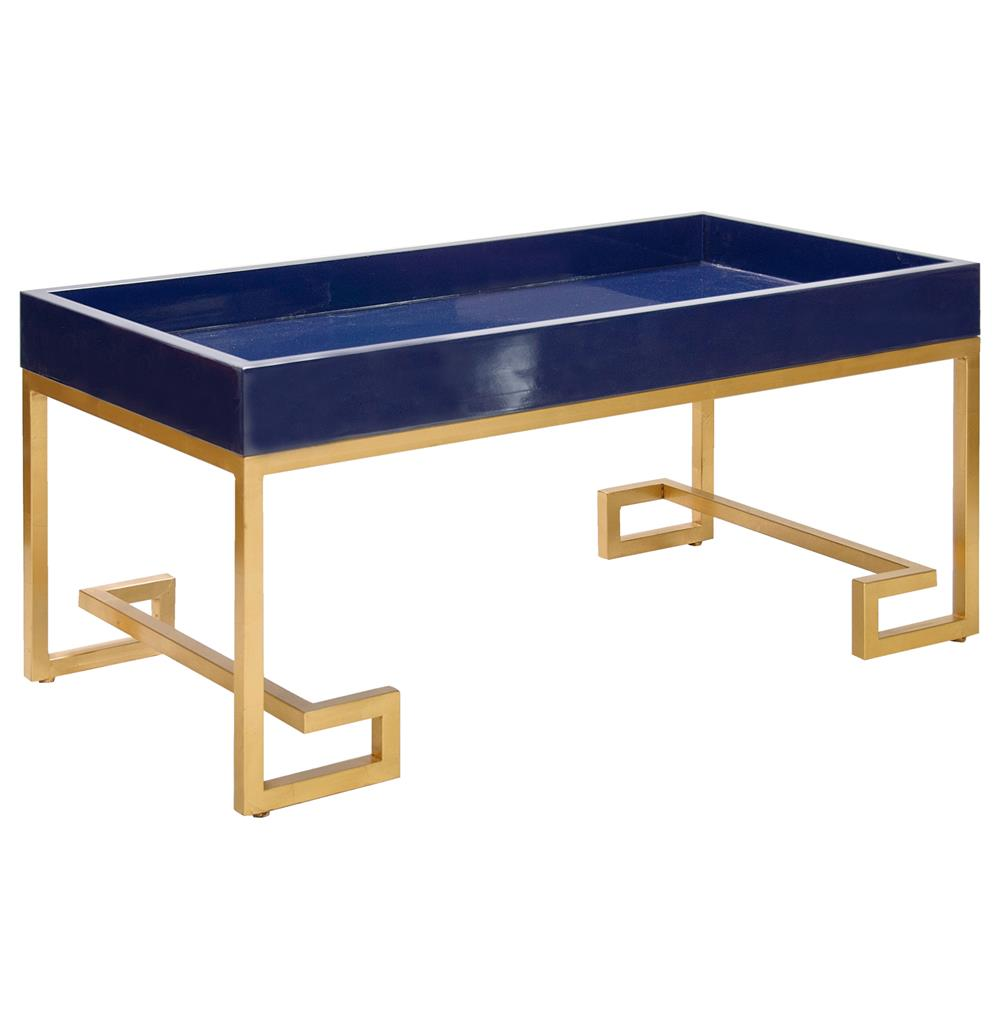 DaVinci Hollywood Regency Navy Blue Gold Coffee Table
