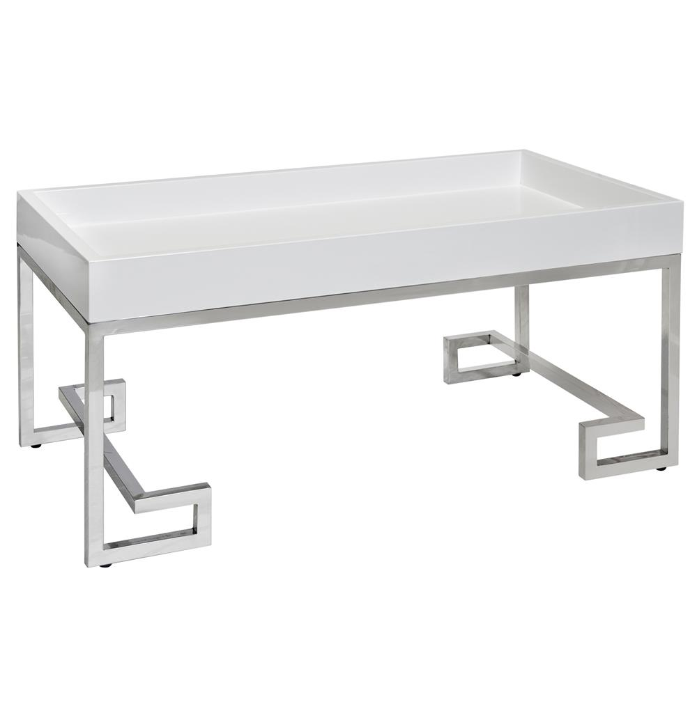 Davinci Hollywood Regency White Lacquer Silver Coffee Table Kathy Kuo Home