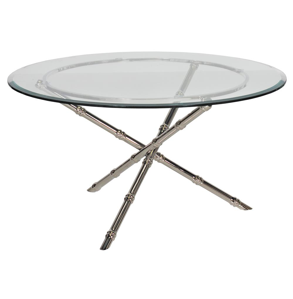 Tristanna Hollywood Regency Bamboo Nickel Glass Coffee Table 30 Inch Kathy Kuo Home