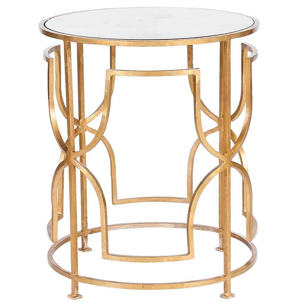 Glenda hollywood regency round gold antique mirror side for Round gold side table