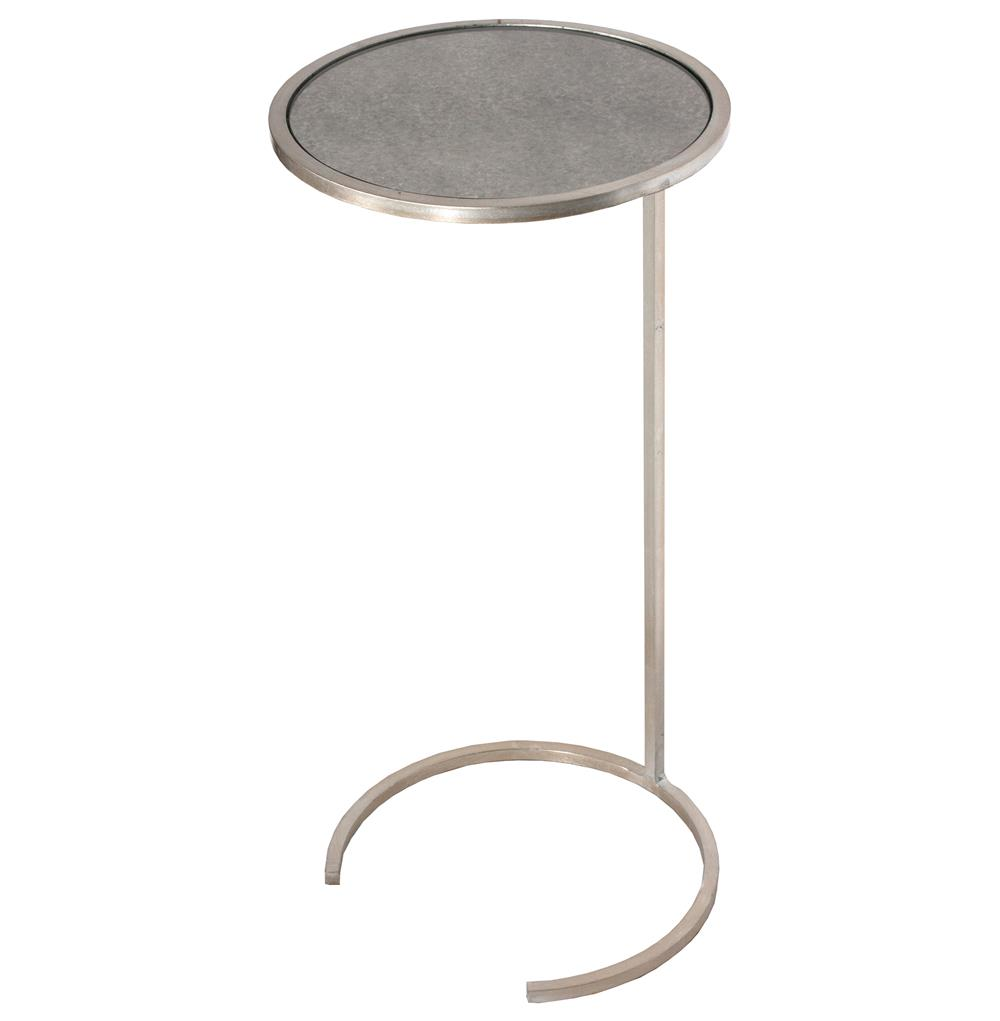 Electra Hollywood Regency Silver Leaf Antique Mirror Side Table