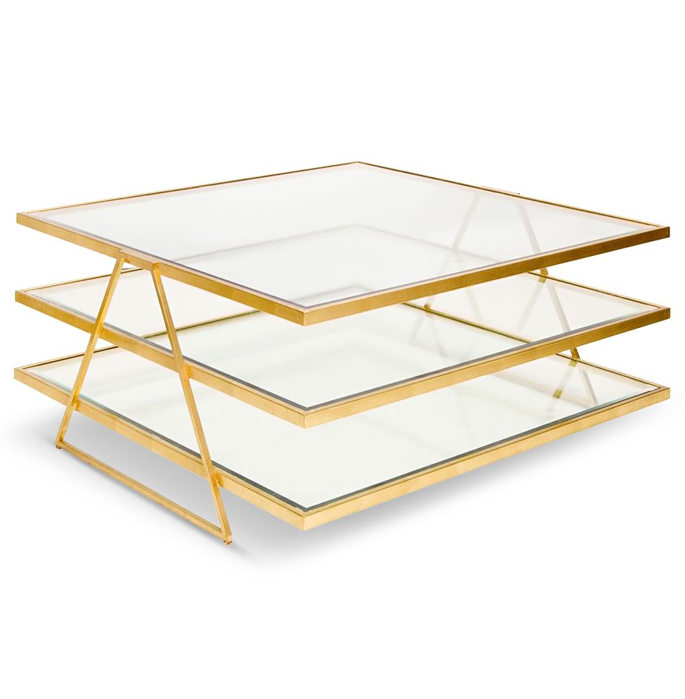 Destiny Hollywood Regency Gold Glass 3 Tier Coffee Table Kathy Kuo Home