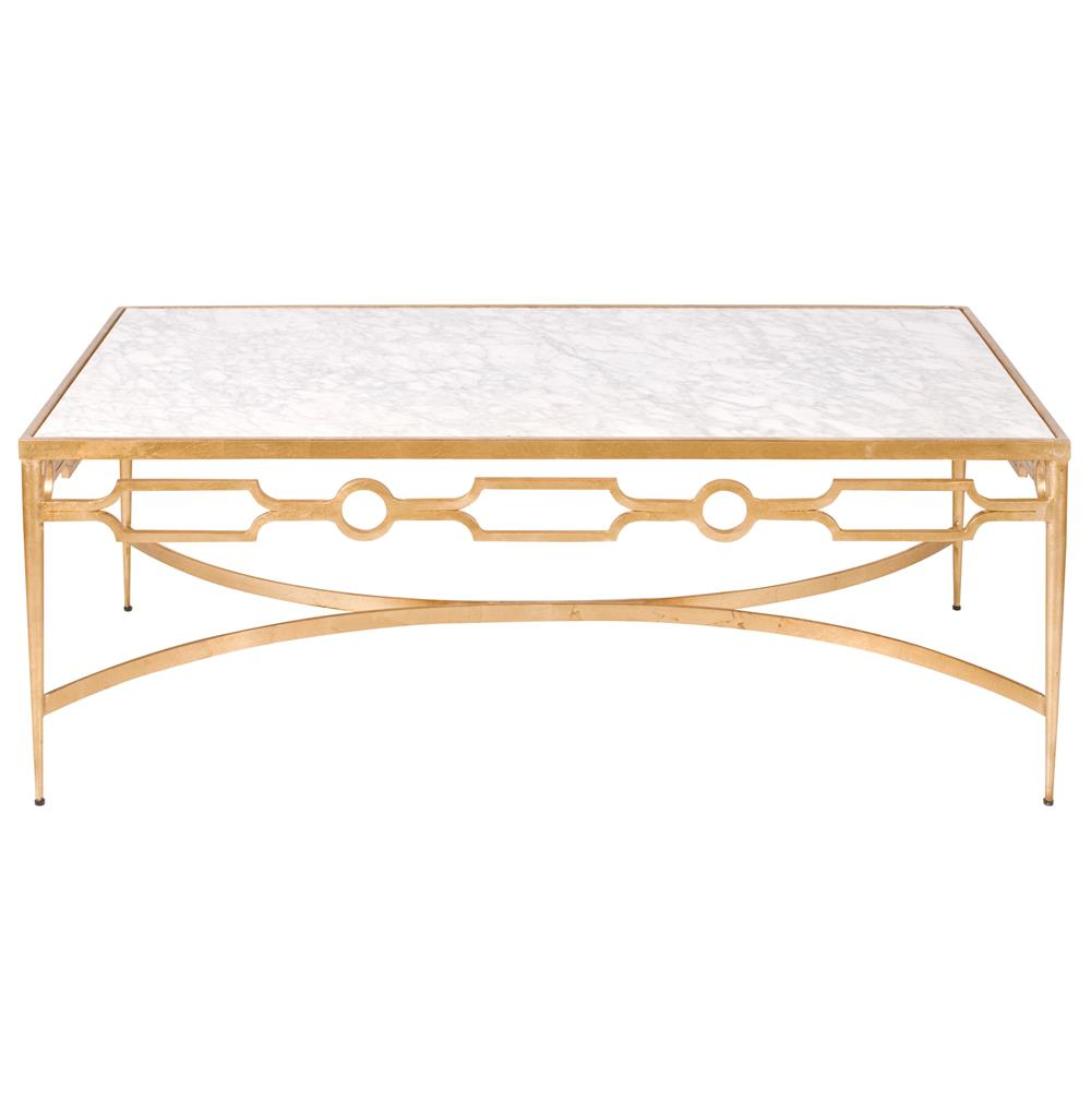 Barre Hollywood Regency Gold White Marble Coffee Table Kathy Kuo Home