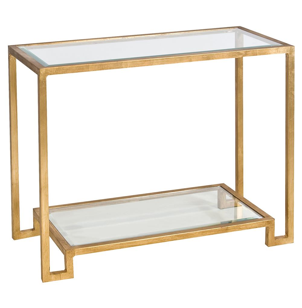 Hutton hollywood regency glass gold console table kathy for Sofa table glass