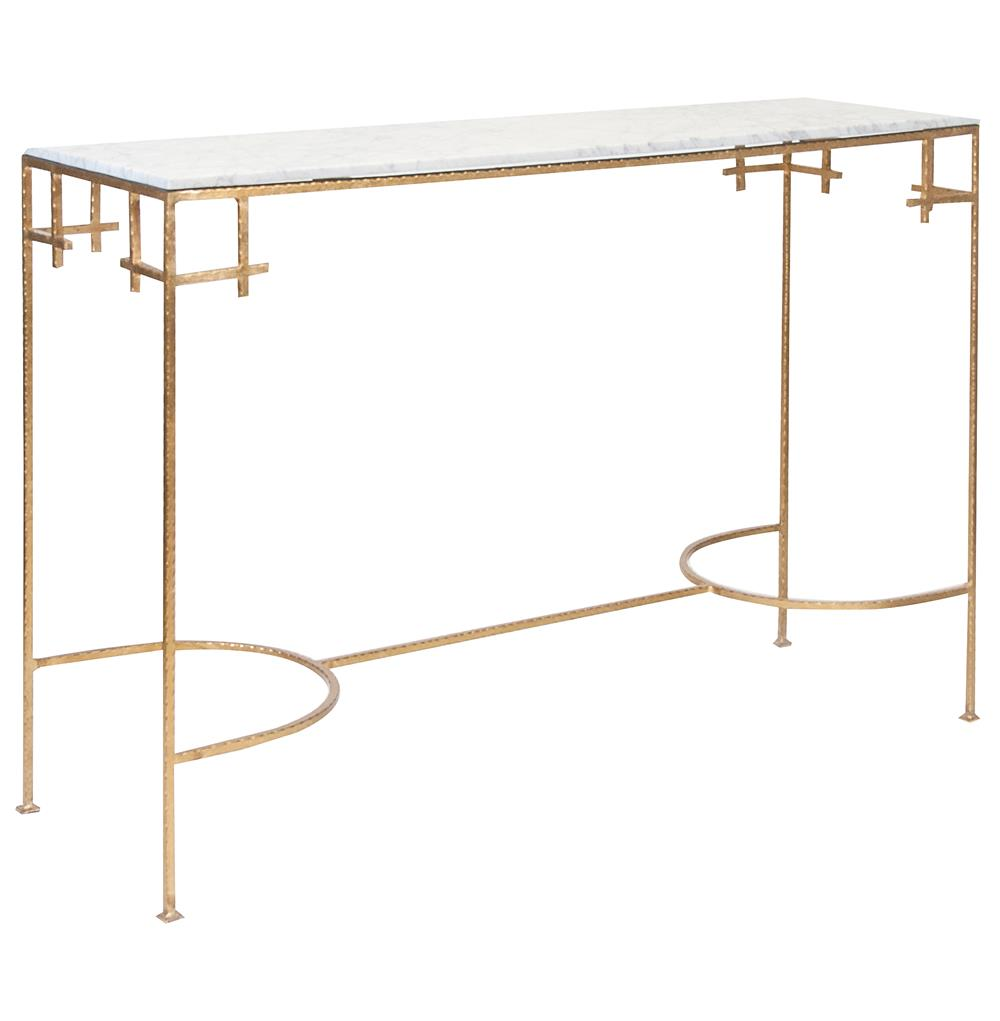 Turlington Hollywood Regency White Marble Gold Console Table | Kathy Kuo  Home