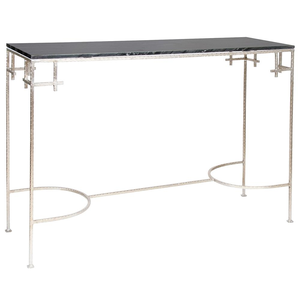 Turlington Hollywood Regency Black Marble Silver Console Table Kathy Kuo Home