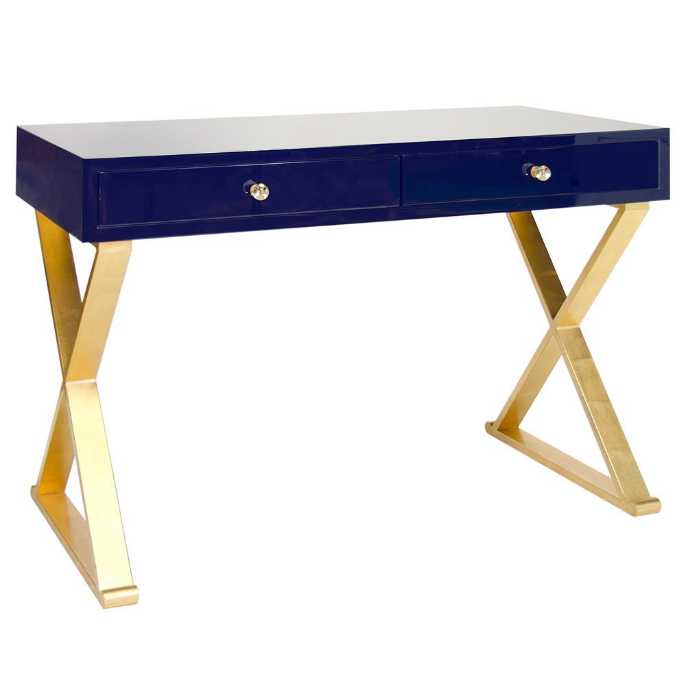 keating hollywood regency navy blue lacquer gold small desk. Black Bedroom Furniture Sets. Home Design Ideas