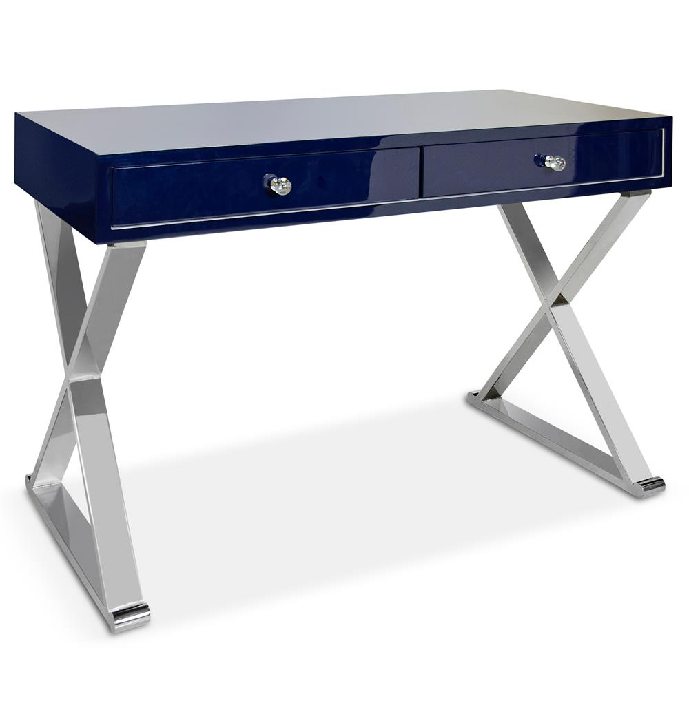 Keating Hollywood Regency Navy Blue Lacquer Stainless Steel Desk Kathy Kuo Home