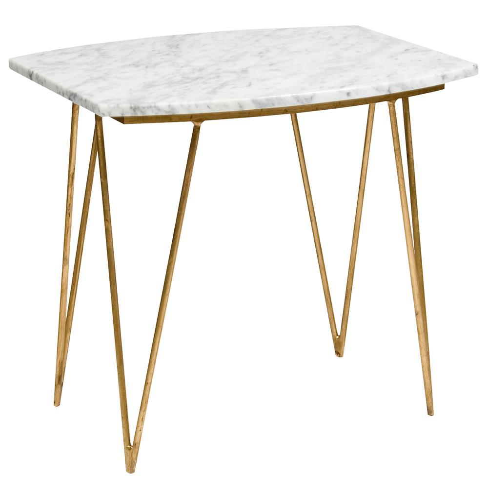 Piazza Hollywood Regency White Marble Gold Side Table