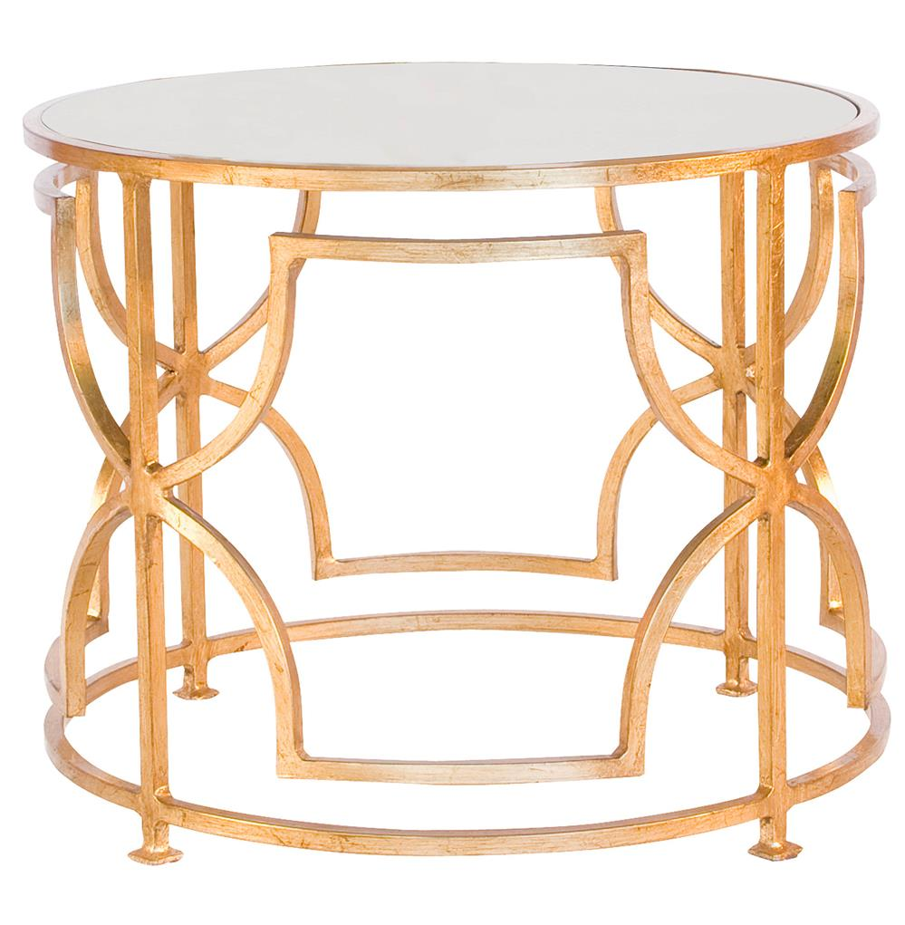 dedee hollywood regency gold antique mirror side table kathy kuo home. Black Bedroom Furniture Sets. Home Design Ideas